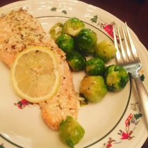 Roasted salmon with garlic and brussels sprouts
